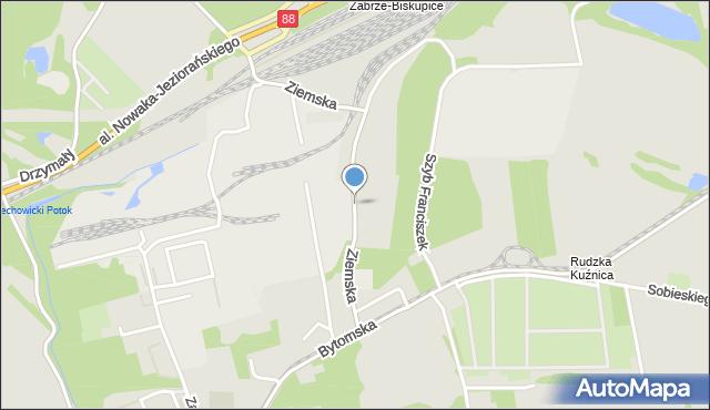 Zabrze, Ziemska, mapa Zabrza