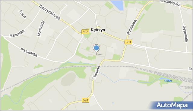 Kętrzyn, Zjazdowa, mapa Kętrzyn