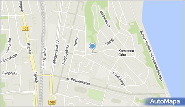 Gdynia, Żołnierzy 1 Armii Wojska Polskiego, mapa Gdyni