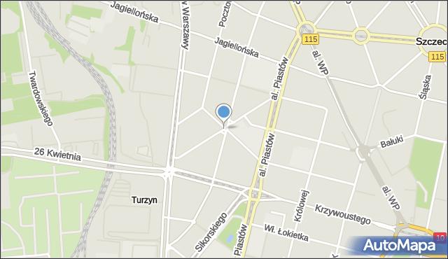 Szczecin, Żółkiewskiego Stanisława, hetm., mapa Szczecina