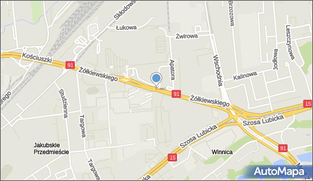 Toruń, Żółkiewskiego, mapa Torunia