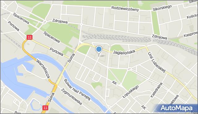 Kołobrzeg, Źródlana, mapa Kołobrzegu