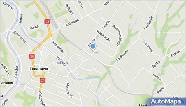Limanowa, Źródlana, mapa Limanowa