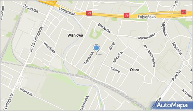 Kraków, Żułowska, mapa Krakowa