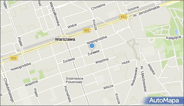 Warszawa, Żurawia, mapa Warszawy