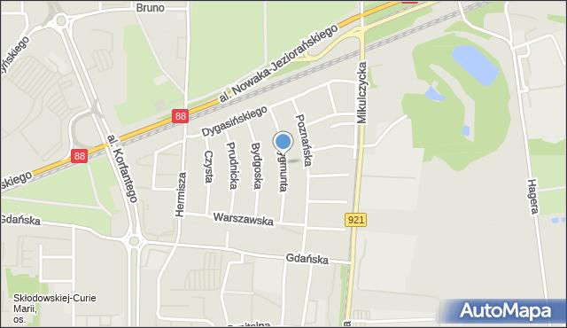 Zabrze, Zygmunta Augusta, mapa Zabrza