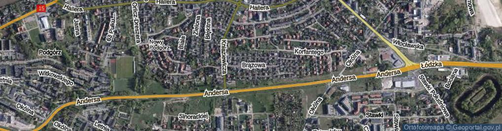Zdjęcie satelitarne Brązowa ul.