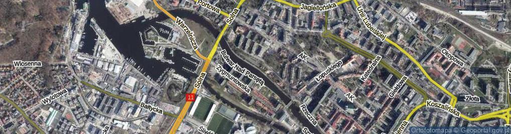 Zdjęcie satelitarne Bulwar Marynarzy Okrętów Pogranicza ul.