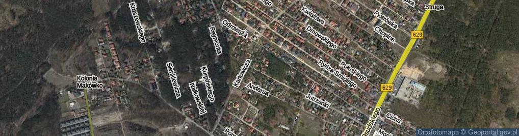 Zdjęcie satelitarne Chotomskiej Wandy ul.