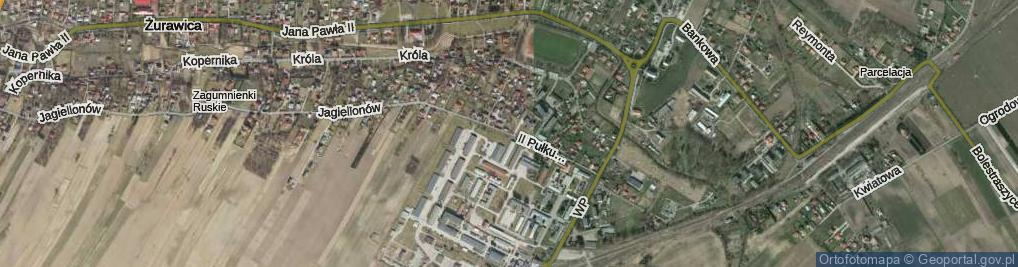 Zdjęcie satelitarne II Pułku Pancernego ul.