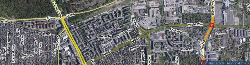 Zdjęcie satelitarne Kaliskiego Sylwestra ul.