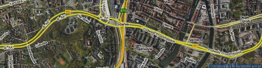 Zdjęcie satelitarne Kładki ul.