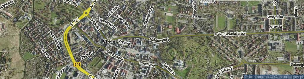Zdjęcie satelitarne Młodowskiej Jadwigi ul.