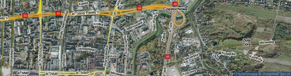 Zdjęcie satelitarne Nad Wartą ul.