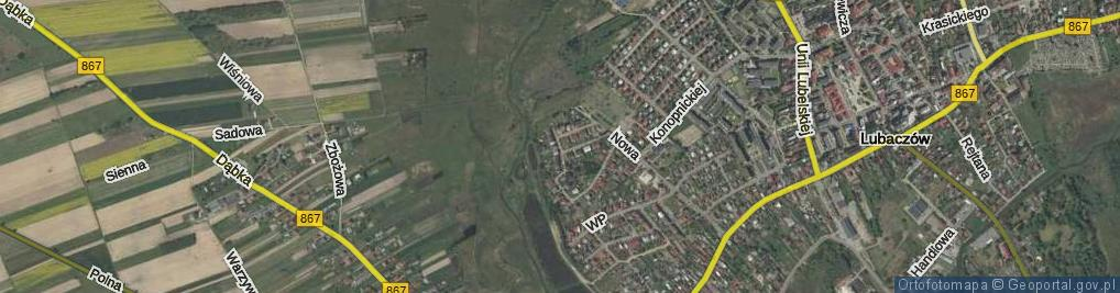 Zdjęcie satelitarne Obrońców Lubaczowa ul.