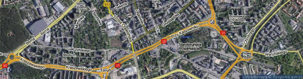 Zdjęcie satelitarne Plac Towarzystwa Miłośników Torunia pl.