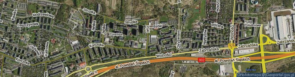 Zdjęcie satelitarne Pyki Jana ul.