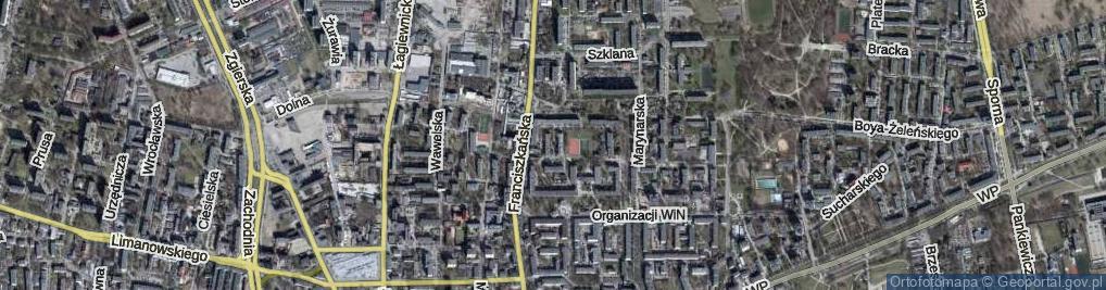 Zdjęcie satelitarne Romskich Ofiar Getta Łódzkiego ul.