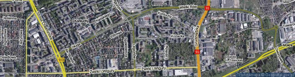 Zdjęcie satelitarne św. Faustyny ul.