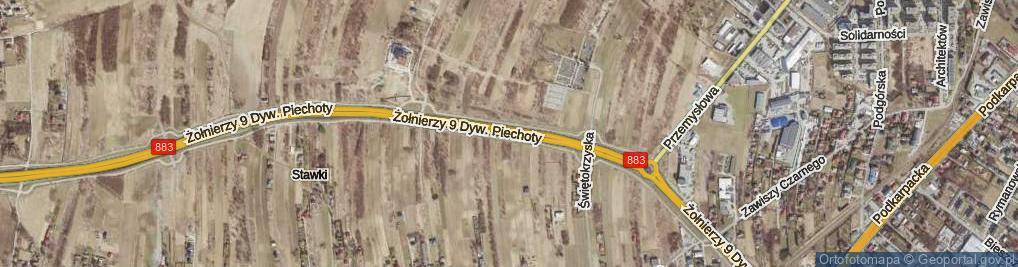 Zdjęcie satelitarne Żołnierzy 9 Dywizji Piechoty ul.