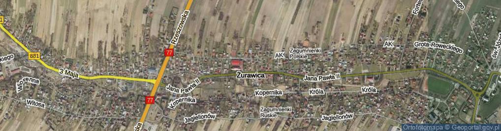 Zdjęcie satelitarne Żurawica ul.