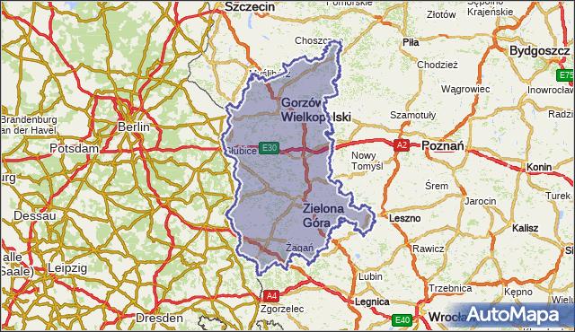 wojewodztwo lubuskie na mapie Targeo