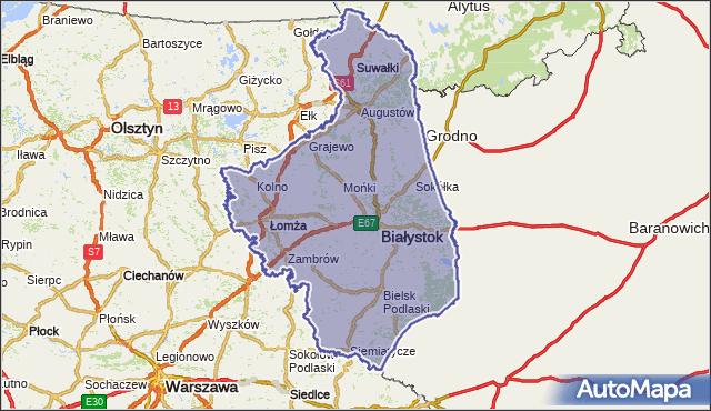 wojewodztwo podlaskie na mapie Targeo